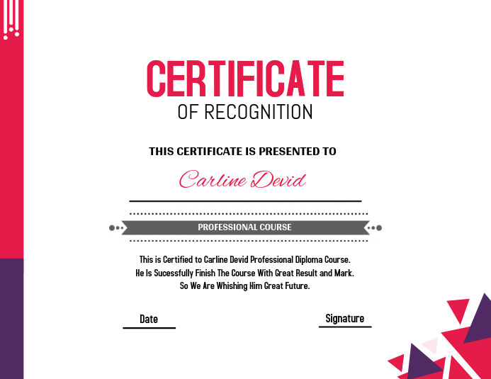 pink purple certificate template