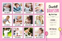 Pink 1st year of life poster template