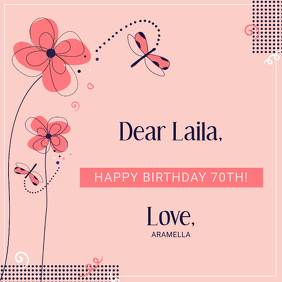 Pink 70th Birthday Instagram Template