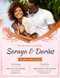 Pink African American Wedding Invitation Flye Volante (Carta US) template