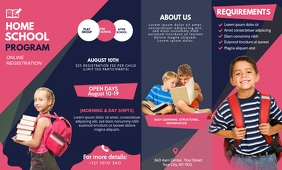 Pink and Black School Tri-fold Brochure