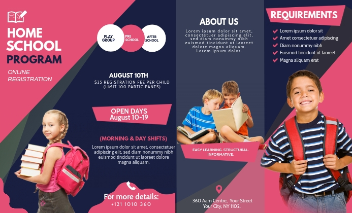 Pink and Black School Tri-fold Brochure US Legal template
