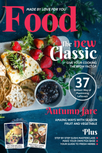 Pink and blue food magazine cover Poster template
