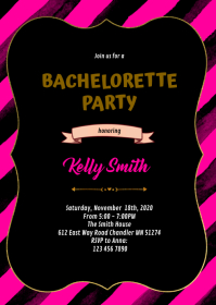 Pink and gold bachelorette bridal invitation A6 template