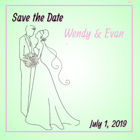 Pink and Green Save the Date Card Instagram