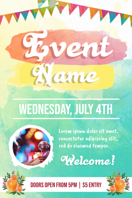 Pink And Green Watercolor Theemd Event Poster Template Postermywall