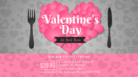 Pink and Grey Valentine Dinner Landscape Image Ecrã digital (16:9) template