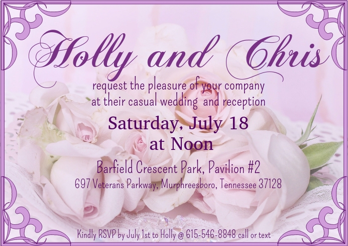 Pink and Lavender Rose Wedding Invitation A2 template