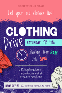 Pink and Purple Clothing Drive Fundriaisng Poster