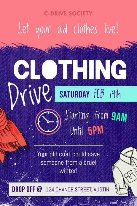 Pink and Purple Clothing Drive Fundriaisng Poster template