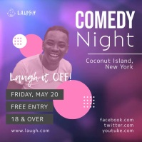 Pink and Purple Comedy Night Square Video