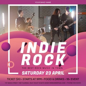 Pink and Purple Indie Rock Concert Square Vid template