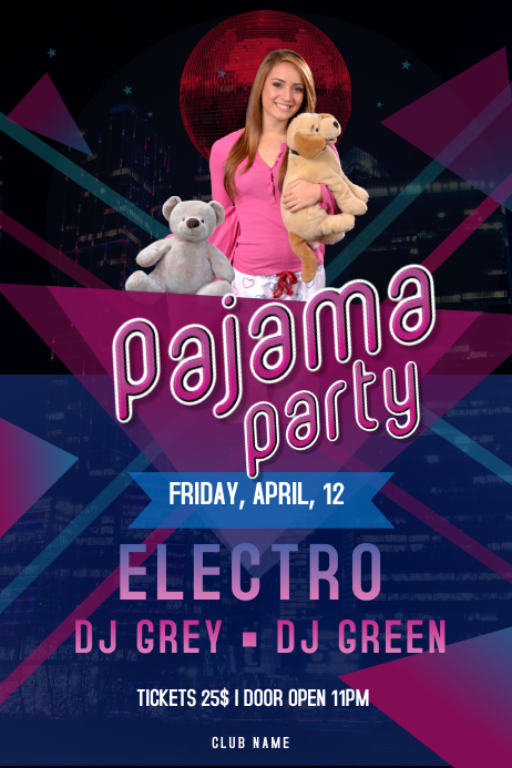 Pink and Purple Pajama Party Poster