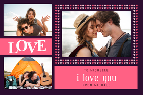Pink and Purple Romantic Collage Poster template