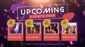 Pink and Purple Upcoming Events Digital Displ template