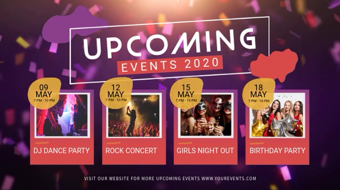 Pink and Purple Upcoming Events Digital Displ Digitalt display (16:9) template