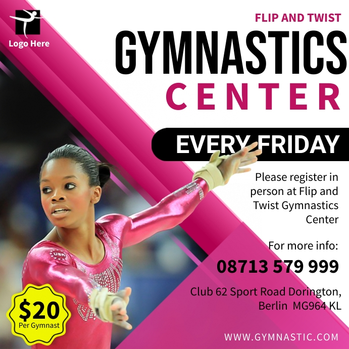 Pink and white Gymnastics center advertisemen Square (1:1) template