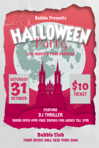 Pink and White Halloween Party Poster