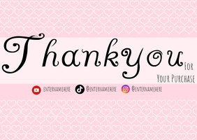 Pink and white heart thank you card TJ Postcard template