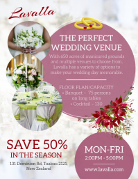 Pink and white wedding venue hire flyer template