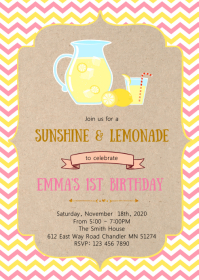 Pink and yellow lemonade stand invitation