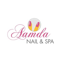 Pink and yellow nail salon template Logo