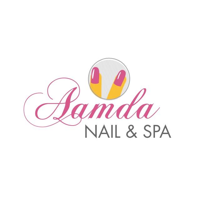 Pink and yellow nail salon template Logo