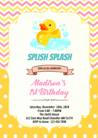 Pink and yellow rubber duck invitation