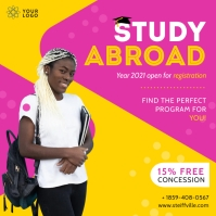 Pink and Yellow Study Abroad Fair Instagram P template