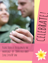 Pink and Yellow Wedding announcment
