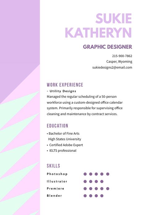 Pink Artsy Graphic Designer CV Resume Affiche template