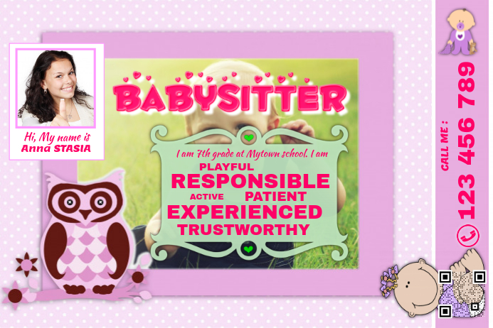 Babysitting flyers pink postermywall for Babysitting poster template