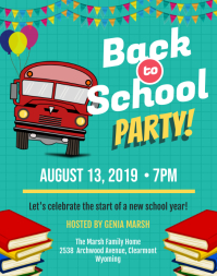Pink Back to School Bash Flyer Template