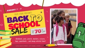 Pink Back to School Sale Facebook Cover Video template