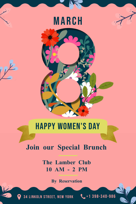 Pink background 8 March poster with flowers