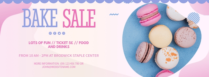 Pink Bake Sale for School FB Cover Facebook-coverfoto template