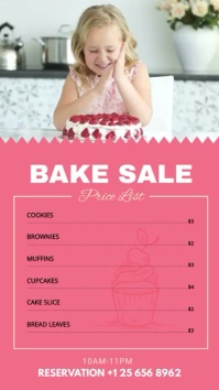 Pink Bake Sale Menu Board Digital Display (9:16) template