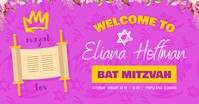 Pink Bat Mitzvah Facebook Invitation template