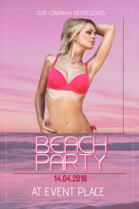 pink beach party flyer template