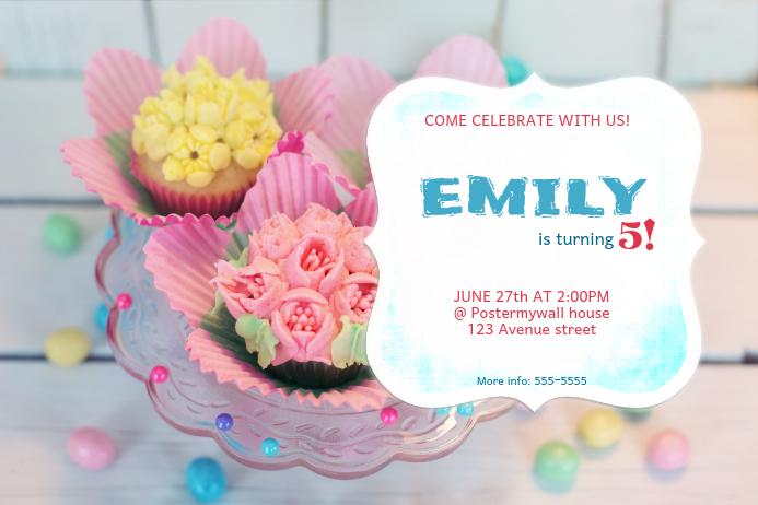 Pink Birthday Invitation Template