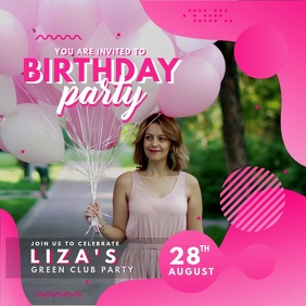 Pink Birthday Party Invitation Modern