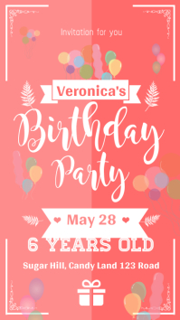 Pink Birthday Party Invitation Whatsapp Status