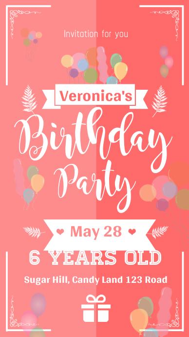 Pink Birthday Party Invitation Whatsapp Status