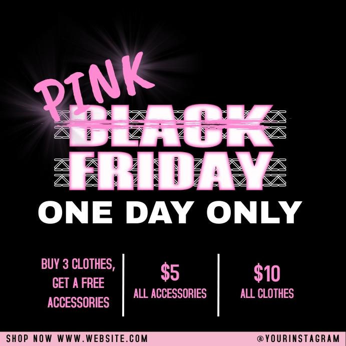 Pink Black Friday Sale Template Instagram na Post
