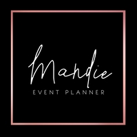 Pink Blush Square Classy Event Planner Logo template