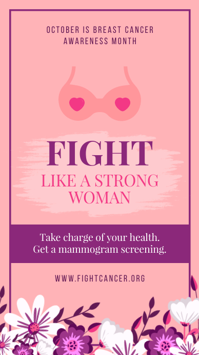 Pink Breast Cancer Awareness Instagram Story template