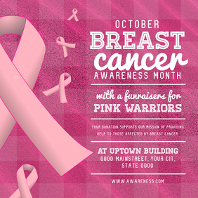 Pink Breast Cancer Awareness Square Image Сообщение Instagram template