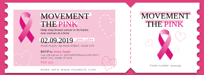 Pink Breast Cancer Event Ticket Facebook Cover template