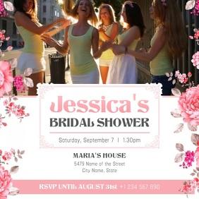 Pink Bridal Shower Invitation Square Video