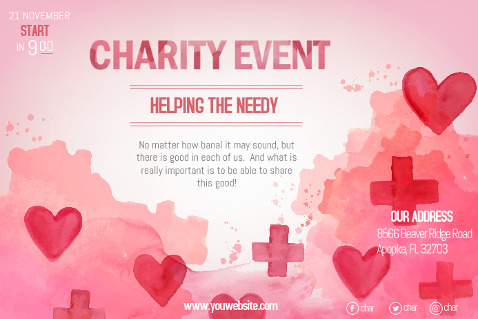 Pink Charity Fundraiser for Cancer Poster template